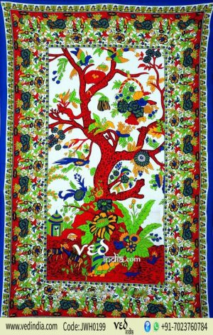 Red and Green Tree of Life Tapestry