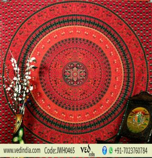 Red Hippie Peacock Tapestry Wall Hanging Boho Bedspread for Home-0
