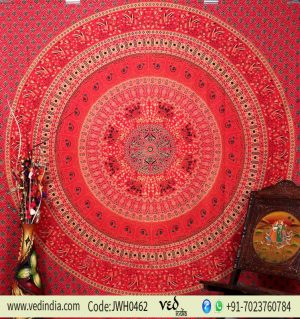 Buy Red Parrot Bohemian Tapestry Wall Hanging Bedding Floor Cushion-0