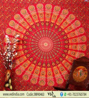Red Twin Bird Wing Hippie Mandala Boho Dorm Wall Tapestry Bedding -0