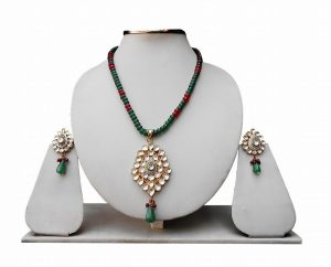 Buy Online Red and Green Bridal Necklace with Fashionable Earrings-0