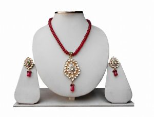 Red and White Kundan Beads Bridal Fashion Necklace With Designer Earrings-0