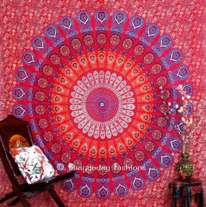 Red Beach Hippie Mandala Peacock Tapestry Bedspread for Home Decor-0