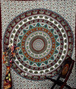 Boho Round Handlook Indian Dorm Bedroom Tapestry in Green White-0