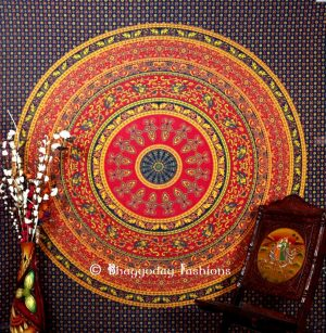 Round Hippie Mandala Tapestry Bedspread for Home in Blue Print-0