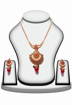 Royal and Stylish Polki Pendant Jewelry Set in Green and Red Stones -0