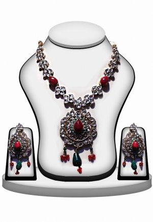 Royal Polki Necklace Jewelry Set with Earrings in Green and Red Stones -0