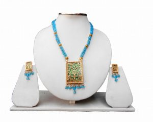 Royal Turquoise Beads Thewa Indian Pendant Earrings Jewelry Set for Parties -0