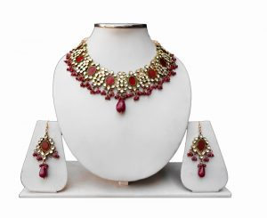 Shop Red Kundan Beads Necklace and Earrings Set for Weddings -0