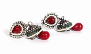 Shop Online Designer Jhumka Style Fashion Earrings in Red Color-0