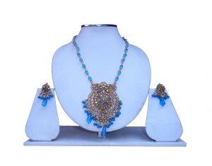 Shop Online Designer Polki Stone Pendant Set with Earrings-0