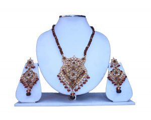 Shop Online Fashionable Pendant Set in Polki Stone and Matching Earrings-0