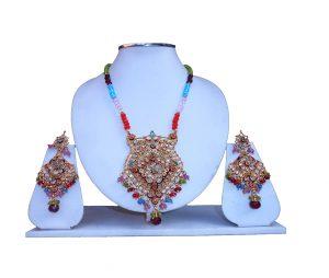 Shop Online Fashionable Semi Precious Stone Polki Pendant Set-0