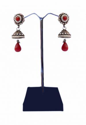 Red Stones and Beads Studded Posh Jhumkas for Weddings-0