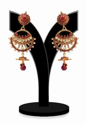 Stylish Polki Earrings for Women in Red and White Stones for Parties-0