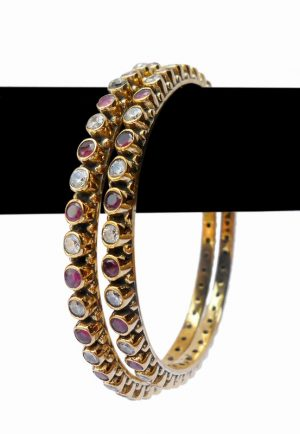 Stylish Wedding Bangles for Women in Red and White Stones from India-0