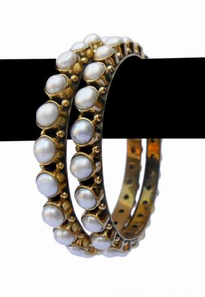 Stylish White Pearls Desire Bridal Bangles from India in Pretty Pattern-0