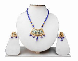 Traditional Blue Colored Thewa Necklace Earring Set from India-0