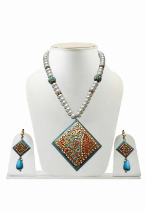 Turquoise and WhiteTanjore Painting Stones Necklace Set for Women -0