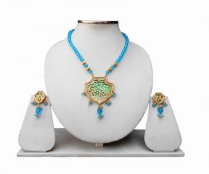 Turquoise Beads Ethnic Jaipur Thewa Pendant Set in Peacock Design-0