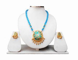 Turquoise Ethnic Thewa Pendant Set in Peacock Design-0