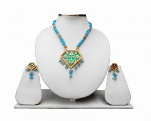 Turquoise Heavy Thewa Pendant Set and Earrings Jewelry Set -0