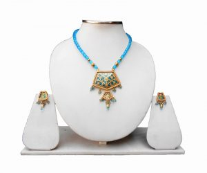 Turquoise Thewa Bridal Pendant and Earrings Set Desgin for Parties -0
