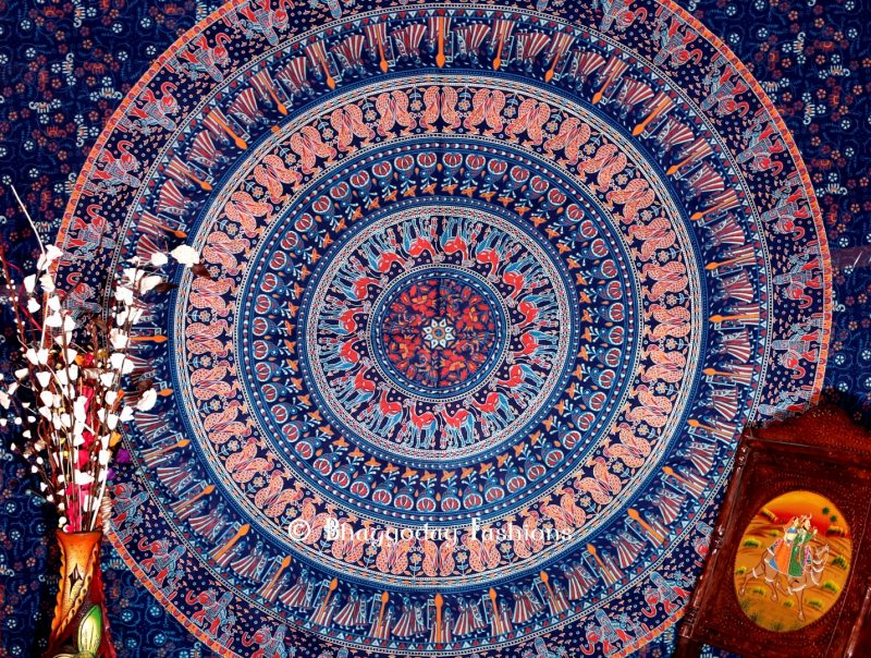 Boho Round Elephant Wall Hanging Dorm Bedroom Tapestry in Blue-1434
