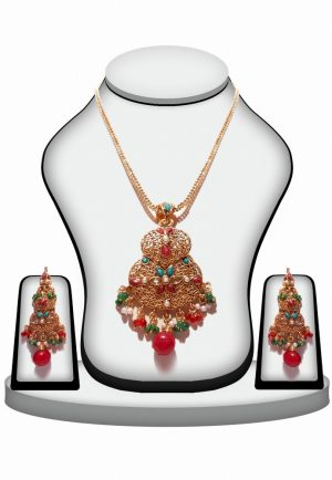 Well-designed Polki Pendant Set and Fashion Earrings with Multi-Color Stones-0