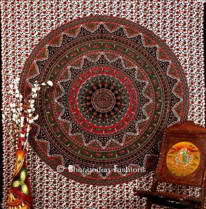 White Multicolor Handlook Boho Tapestry Wall Hanging Floor Cushion-0