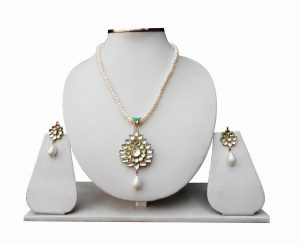 White Kundan Beads Bridal Necklace Set With Designer Matching Earrings-0
