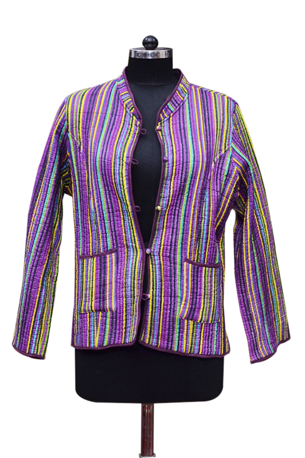 Shop Online Wholesale Women Quilted Jackets With Colorful Strip-0