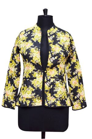 Designer Black and Yellow Floral Print Women Quilted Jackets-0