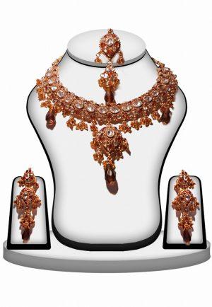 Fashionable Amber Stone Polki Necklace Set with Antique Polish-0