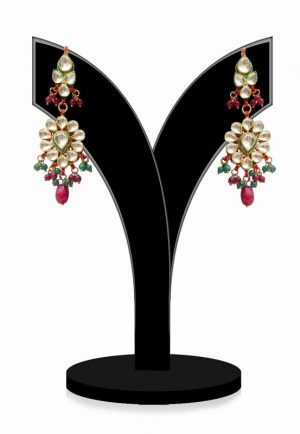 Beautiful Kundan Earrings in Red, Green and White Stones for Parties-0