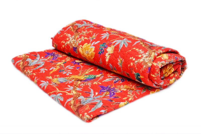 Beautiful Orange Luxury Quilts With Colorful Floral Designs-0