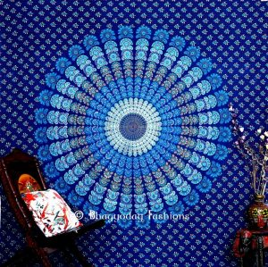 Beautiful Blue Boho Dorm Mandala Peacock Wall Tapestry Bedspread -0