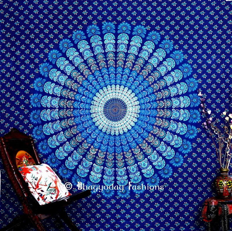 Beautiful Blue Boho Dorm Mandala Peacock Wall Tapestry Bedspread -0