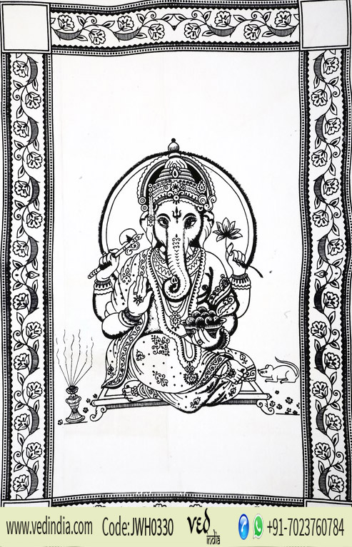 Black and White Elegant Lord Ganesha Bohemian Tapestry Wall Hanging-0