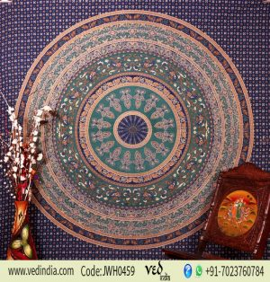 Blue Bohemian Wall Tapestry Queen Bedding in Ethnic Indian Print-0