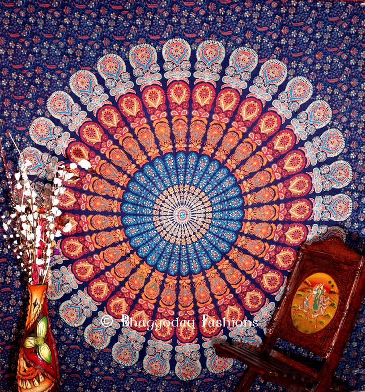 Blue Designer Beach Peacock Wings Mandala Tapestry Wall Hanging-0