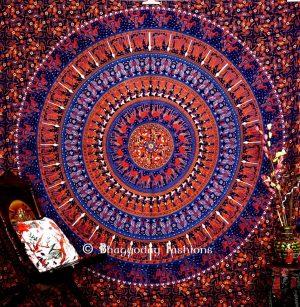 Blue Round Mandala Elephant Boho Tapestry Bedding for Floor Cushions-0