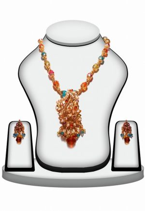 Buy Multi-Color Traditional Polki Necklace Set For Weddings-0