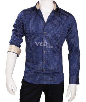 Buy Online Classy Formal Linen Men's Printed Shirt in Blue-0