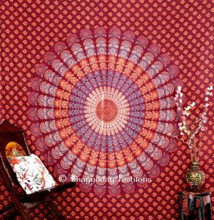 Buy Maroon Designer Beach Mandala Peacock Tapestry Wall Hanging-0