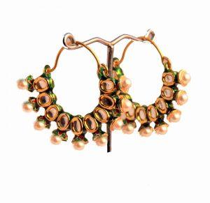 Classic Kundan Stone Earrings in Bali Style for Weddings-0