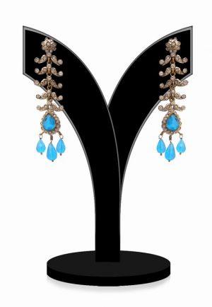 Elegant Dangler Style Victorian Earrings in Turquoise Stones-0