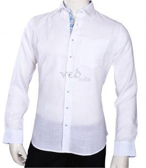 Dashing White Plain Party Shirt for Men in Linen-0
