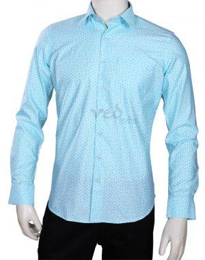 Designer Beach Wedding Men's Shirt in Plain Aqua Blue-0