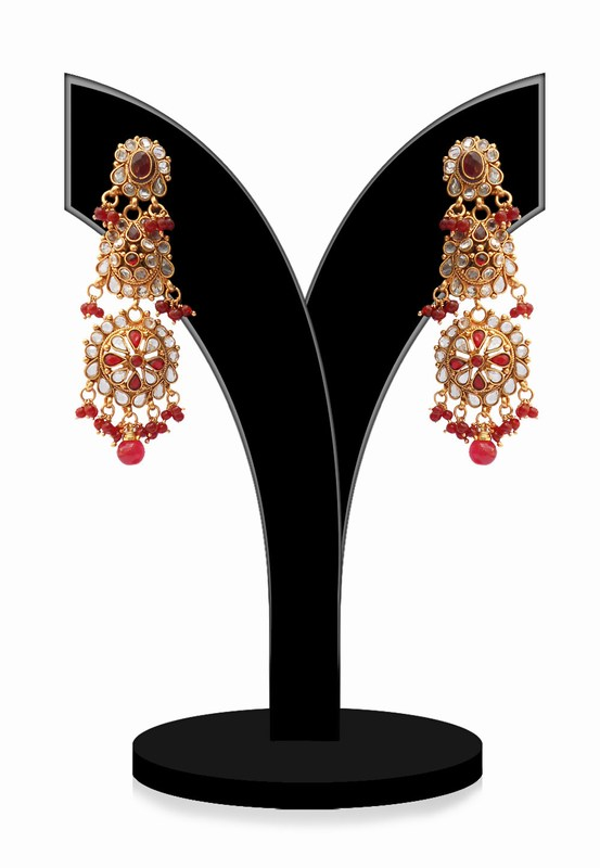 Long Designer Dangler Polki Jhumkas in Red and White Stones-0